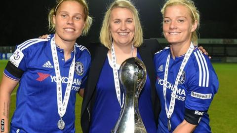 Gilly Flaherty (left) Emma Hayes and Katie Chapman