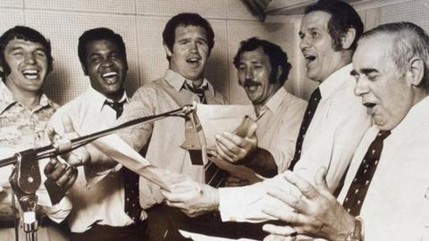 Les Pearce and Wales team members record their 1975 Rugby League World Cup song