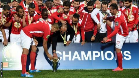 Tunisia's Etoile du Sahel celebrate winning the Confederation Cup