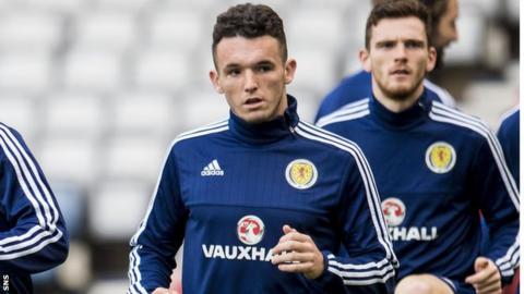John McGinn trains with Scotland before they face Slovakia