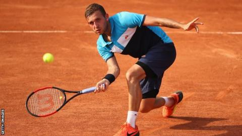 Dan Evans playing at the French Open in 2017