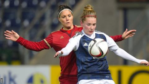 Kim Little in action for Scotland against Spain's Ruth Garcia
