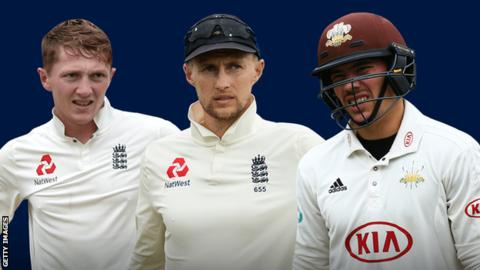 Dom Bess, Joe Root and Rory Burns