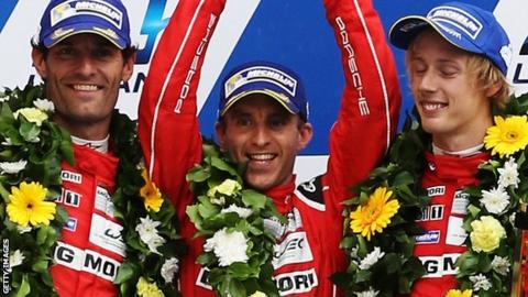Mark Webber (left), Timo Bernhard (centre) and Brendon Hartley finished second at the Le Mans 24-Hour race in June