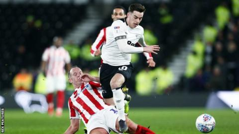Derby County winger Tom Lawrence