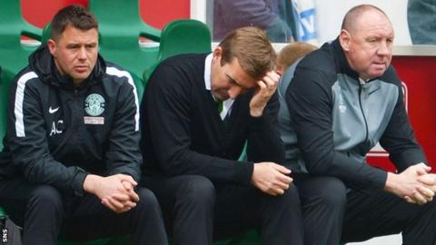 Hibernian manager Alan Stubbs (centre) looks disappointed