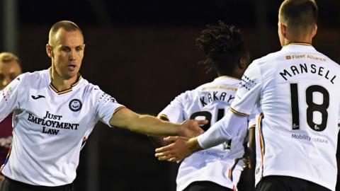 Partick Thistle striker Kenny Miller (left) celebrates