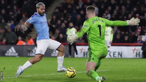 Manchester City striker Sergio Aguero taps past Sheffield United's Dean Henderson