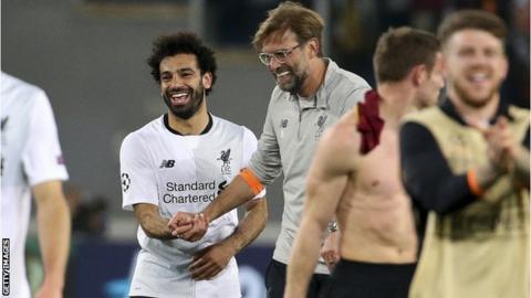 Mohamed Salah and Jurgen Klopp