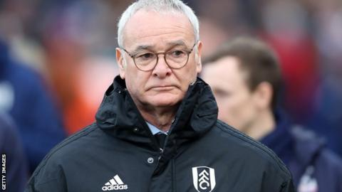 Fulham manager Claudio Ranieri on the sidelines