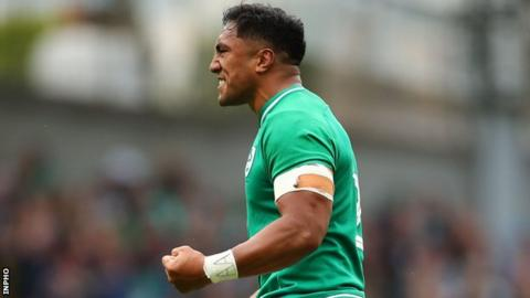Bundee Aki celebrates after Ireland's victory over Wales earlier this month