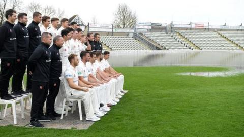 The ground was still almost totally under water when Worcestershire held their pre-season photocall on 4 April