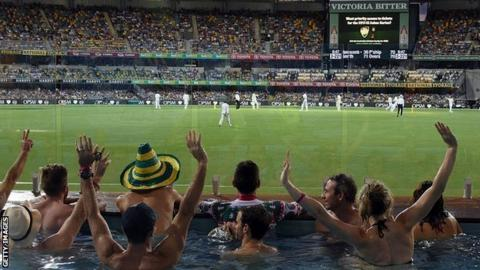 Fans in a pool watch the day-night Test between Australia and Pakistan in Brisbane, December 2016