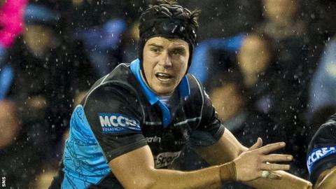 Hugh Blake in action for Glasgow Warriors