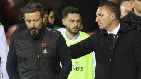 Aberdeen manager Derek McInnes and Celtic's Brendan Rodgers