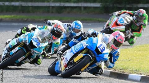Lee Johnston leads from Alastair Seeley in the first Supersport race of 2019