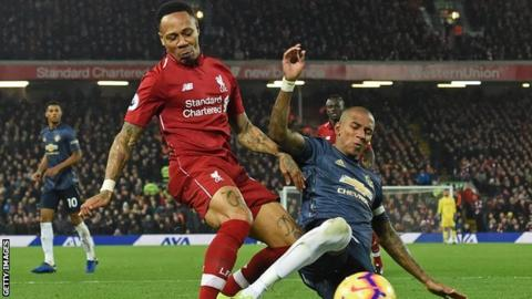 Nathaniel Clyne in action for Liverpool against Manchester United in December