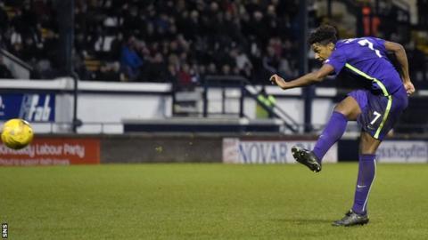 Dominique Malonga scoring for Hibernian against Raith Rovers