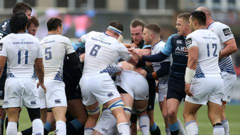 Cardiff Blues and Leinster scuffle during the Pro12 match at the Arms Park