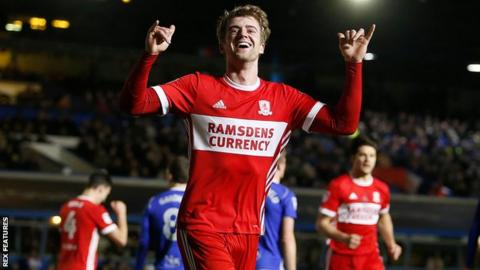 Patrick Bamford runs away in celebration after scoring at Birmingham City