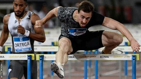 Russia's Sergey Shubenkov competes to win the Men's 110m Hurdles during the IAAF Diamond League competition on June 6, 2019 at the Olympic stadium in Rome.