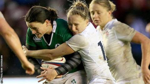 Ireland's Jackie Shiels is tackled by England's Emily Scott during the international in November