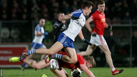 Monaghan's Thomas Kerr takes a tumble during the Healy Park clash against the Red Hands