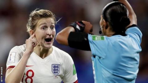 Technology Ellen White with referee at World Cup