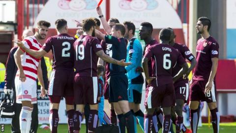 Callum Paterson was sent off against Hamilton, a decision that was later rescinded