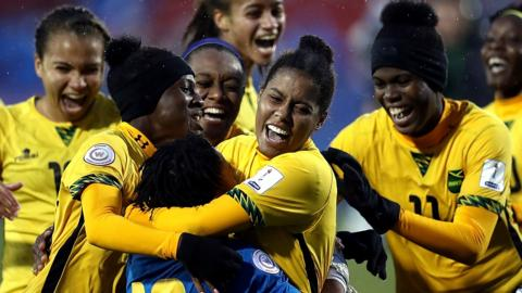 Jamaica women's football team celebrate