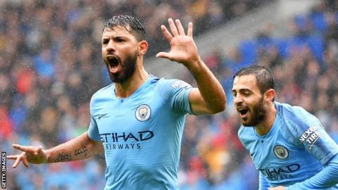 Sergio Aguero marked his 300th appearance for Manchester City with a goal