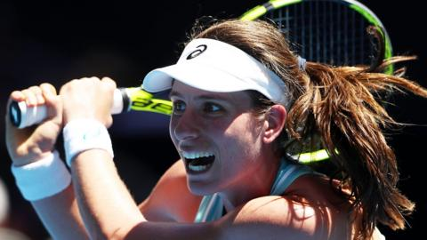 Johanna Konta plays a backhand during her first-round match at the Australian Open