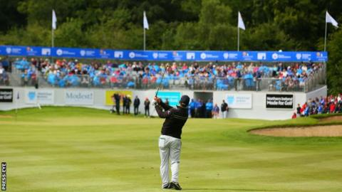 Last year's Northern Ireland Open winner Ryan Fox plays his final approach shot to the 18th green at Galgorm Castle