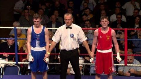 John Paul Hale (right) will renew his rivalry with Colm Murphy (left) in the bantamweight final