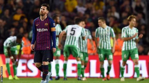 3a3872a8c Barcelona 3-4 Real Betis: Leaders stunned by expert display - BBC Sport