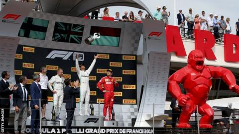 Lewis Hamilton celebrates winning the 2019 French Grand Prix