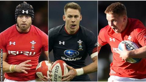 Leigh Halfpenny, Liam Williams and James Davies