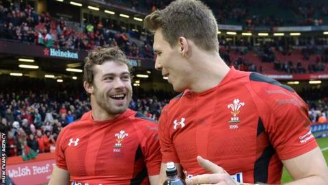 Leigh Halfpenny shares a joke with Liam Williams after a Wales international match