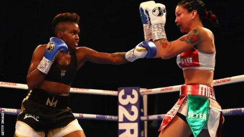 Nicola Adams of England in action against Isabel Millan of Mexico during the Interim WBO World Female Flyweight Championship contest at Morningside Arena on 6 October, 2018 in Leicester