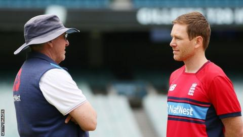 England coach Trevor Bayliss (left) and captain Eoin Morgan