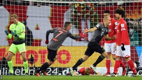 Arjen Robben scored his first headed goal in the Bundesliga since February 2015