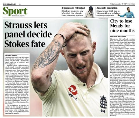 The Times back page on Friday