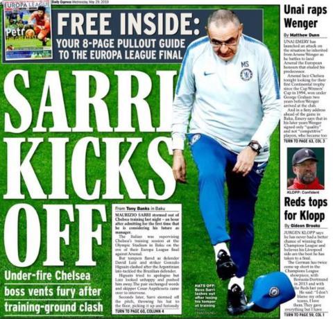 Daily Express back page: Sarri kicks off