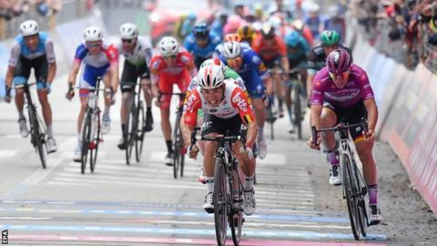 Caleb Ewan wins stage eight at the Giro d'Italia