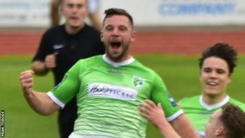 Craig Young scores for Guernsey FC