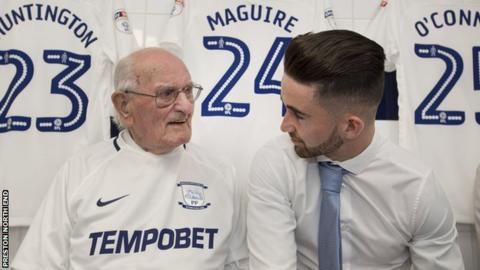 Bernard Jones (left) with Preston striker Sean Maguire