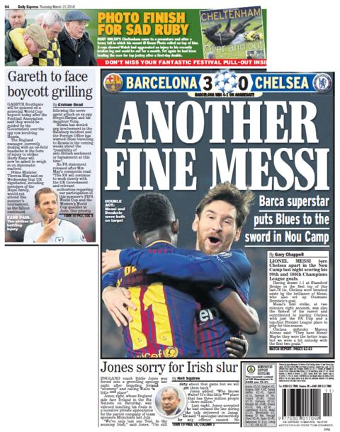 Daily Express back page on Thursday