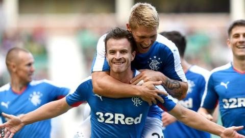 Andy Halliday (centre) was one of a number of summer signings to make an impact on their Rangers debut