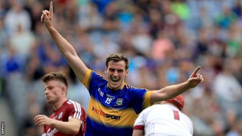 Conor Sweeney celebrates after scoring his second goal in the win over Galway