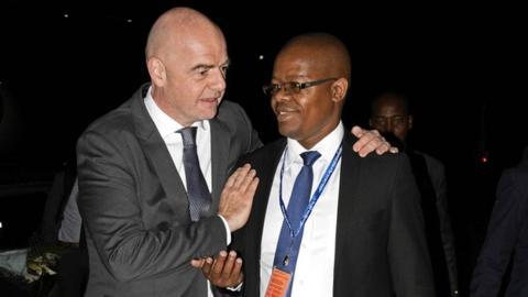 Fifa President Gianni Infantino and Uganda FA president Moses Magogo